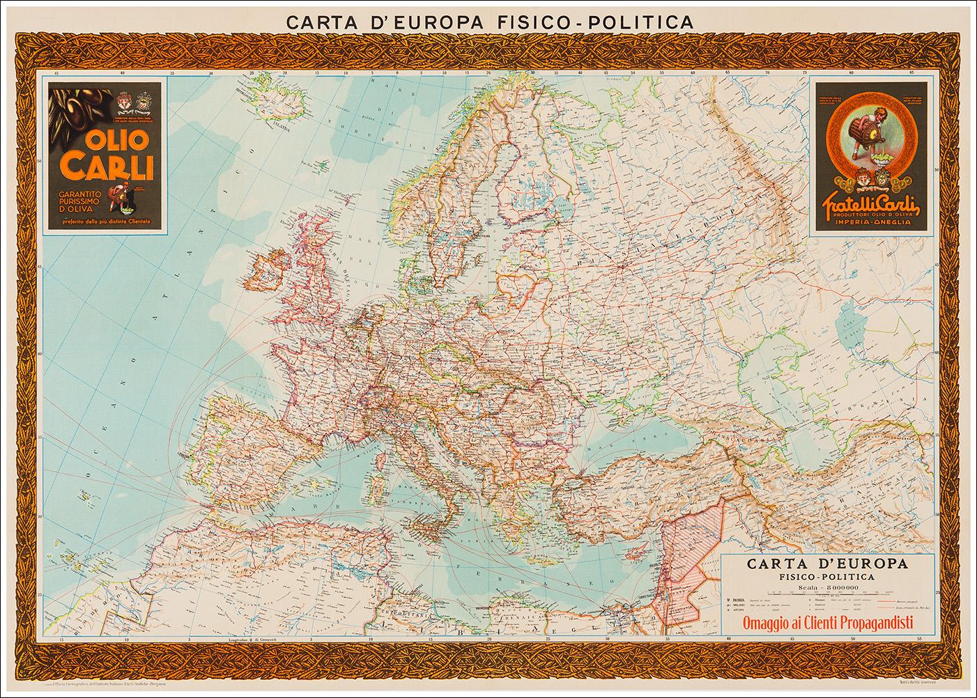 Cartina Europa 1938.Olio D Oliva Fratelli Carli Oneglia Imperia L Image Gallery